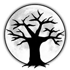 bald tree and moon silhouette clipart tattoosk