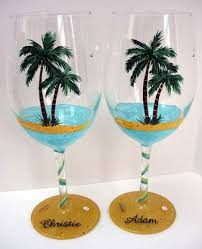 wine glass palm trees glass painting design craft ideas