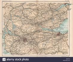 Map Of Glasgow Scotland Central Scotland Edinburgh Glasgow Bartholomew 1904 Antique