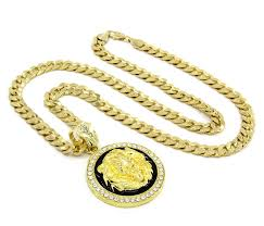 cheap gold necklace images Men 39 s gold tone black lion face iced out pendant 30 quot 10mm cuban jpg