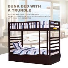 Espresso Twin Trundle Bed Amazon Com Merax Twin Over Twin Bunk Bed With Trundle In Espresso