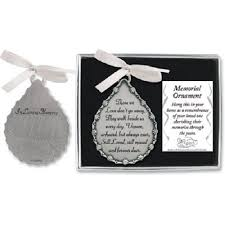 tear drop shaped in loving memory pewter ornament