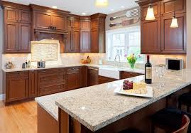 giallo ornamental light granite kitchen modern with tile