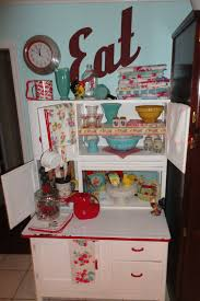 Kitchen Maid Hoosier Cabinet by Vintage Hoosier Cabinet With Some Lovely Pryex And Old Dishtowels