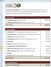 simple budget worksheet money under 30