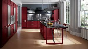 cool red kitchen design with mahogany cabinet and kitchen table