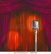 classic microphone colorful curtains 3d render stock illustration