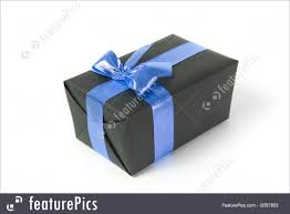 gift box with ribbon holidays black gift box with blue ribbon stock picture i3357853