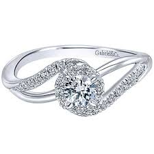 swirl engagement rings gabriel 14k white gold diamond halo engagement ring