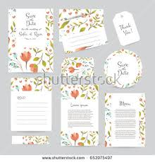 vector gentle wedding cards template flower stock vector 488472454