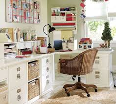 Rattan Desk Chair Office Incredible Cozy Workspace Design With L Shape White