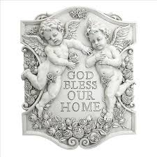 god bless our home wall decor design toscano exclusive god bless our home cherubs wall sculpture