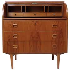 midcentury danish rosewood roll top secretary desk in the style of