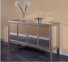 amazon com classy mirage mirrored buffet in silver finish