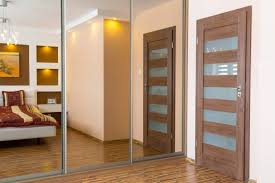 Closets Door Furniture Mirrored Wardrobe With Sliding Door Combined With White