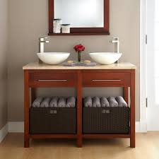 Bathroom Double Vanities With Tops Open Shelf Vanity For Bathroom With Gray Wooden Pile Up Drawer