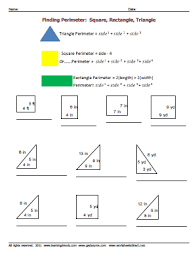 Area And Perimeter Of A Triangle Worksheet Finding Perimeter Triangle Square Rectangle Worksheets