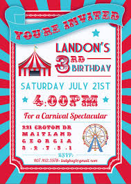 awesome circus and carnival kids birthday party invitation card