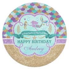 mermaid birthday personalized paper plate zazzle
