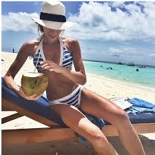 aliexpress com buy stripe high neck women beach navy blue