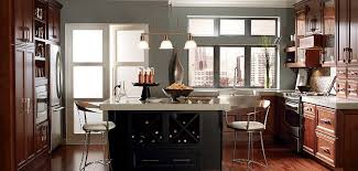 Cherry Cabinet Colors Cherry Kitchen Cabinets With Gray Wall And Quartz Countertops Ideas