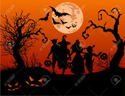 halloween background vector free halloween background with silhouettes of children trick or