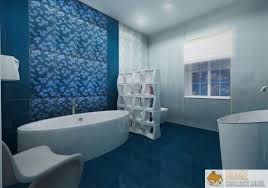 blue bathroom decor in lavender bed and bathroom