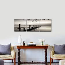 living room canvas pyradecor peace 3 panels black and white landscape giclee canvas