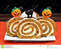 pumpkin cakes halloween pumpkin roll cake decorated for halloween stock photo image