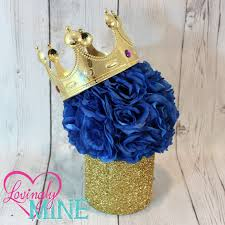 Blue And Gold Baby Shower Decorations by Prince Glitter Gold U0026 Royal Blue Centerpiece Royal Blue Faux