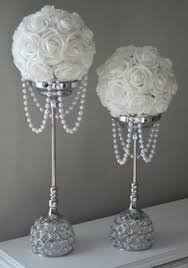 25th Wedding Anniversary Table Centerpieces by Silver And White Flower Ball Wedding Centerpiece By Kimeekouture