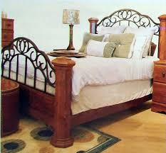 Wood And Iron Bed Frames Home And Interior Design Artistic Bedroom With Wrought Iron