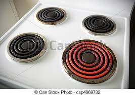stove top stock photo of electric stovetop four electric elements on a