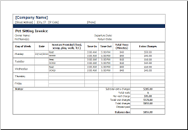 ms excel printable pet sitting invoice template excel templates