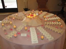 pale pink table cover place cards waiting for the guests in the foyer on a pale pink table