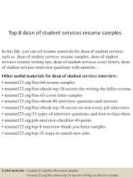objectives for resumes for students top8deanofstudentservicesresumesamples 150723073300 lva1 app6892 thumbnail 4 jpg cb 1437636829