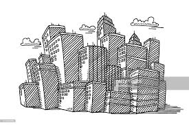 big city skyline drawing vector art getty images