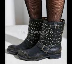 short black motorcycle boots nwt sz 6 428 frye 76347 jenna cut stud short black engineer moto