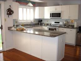 small uhaped kitchen with dark cabinets light floors and white