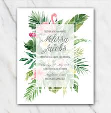 tropical wedding invitations tropical flamingo wedding invitation template in word for free