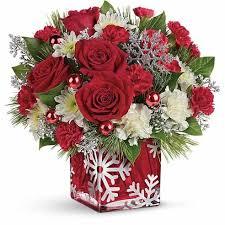 christmas flower arrangements snowflake christmas flower bouquet at send flowers