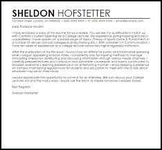 college lecturer cover letter sample livecareer