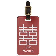 wedding luggage tags happiness just married wedding luggage tag zazzle
