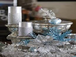 Christmas Table Decorations In Blue And Silver by Silver Christmas Decorations Christmas Lights Decoration