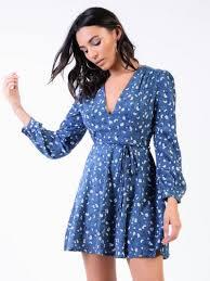 dark blue ditsy floral print wrap front skater dress