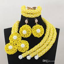 african beads necklace images African beads jewelry set yellow white handmade flowers 2017 jpg