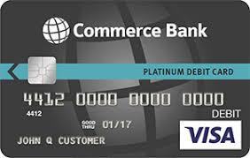 debt cards platinum visa debit cards commerce bank