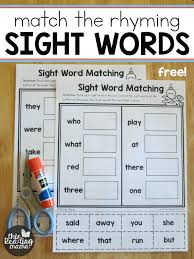sight word worksheets match the rhyming word sight word