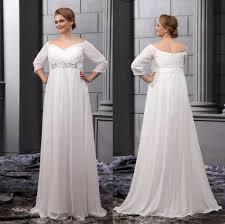 empire waist chiffon plus size wedding dresses clothing for