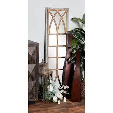 Rectangular Distressed Gray Decorative Wall Mirror with Window